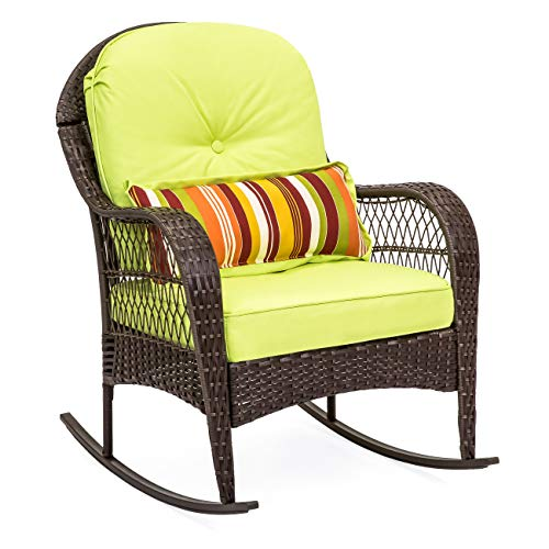 (Best Choice Products Outdoor Wicker Rocking Chair for Patio, Porch, Deck, Poolside w/Weather-Resistant Cushions, Steel Frame - Green)