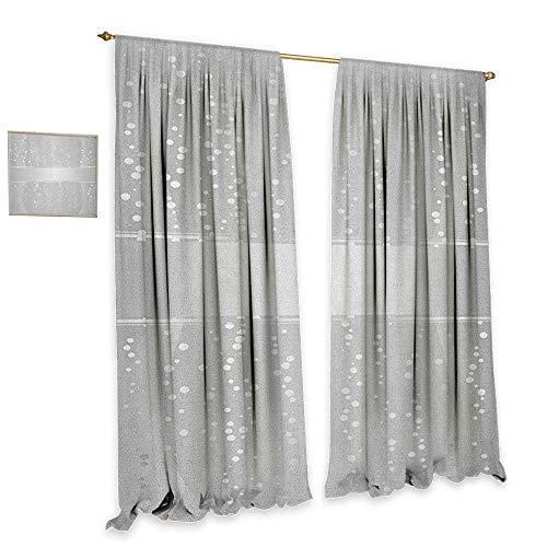 Border Big Bold (homefeel Grey Window Curtain Fabric Vertical Wavy Lines with Festive Little Dots and a Bold Border Christmas Celebration Waterproof Window Curtain W120 x L84 Silver White)