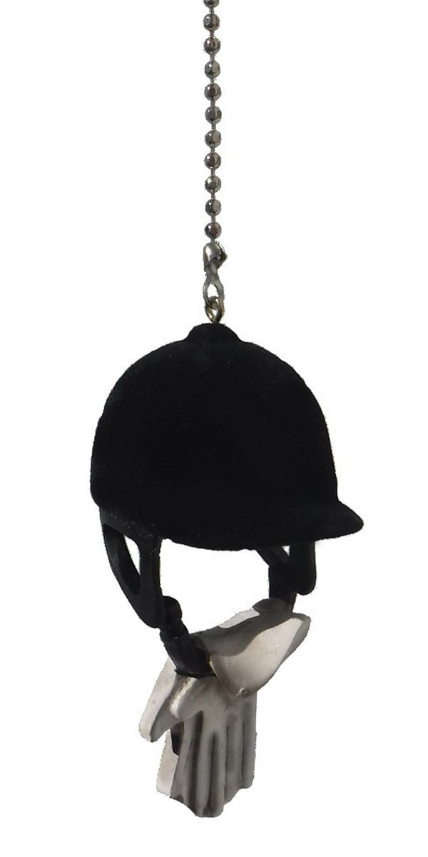 WeeZ Industries Sports theme ceiling FAN PULL light chain extension (Equestrian English horseback riding helmet & gloves)
