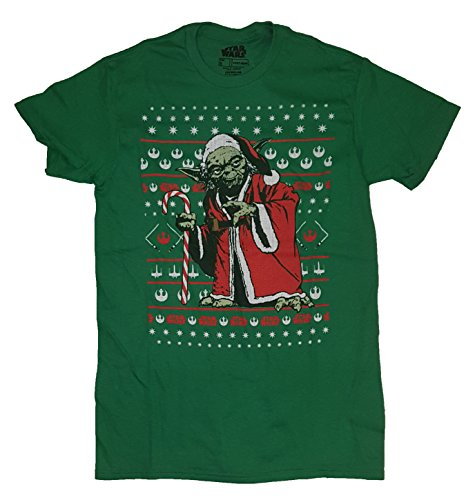 Christmas Star Wars Yoda in Santa Suit Fair Isle Green Graphic T-Shirt - - Fair Valley Santa