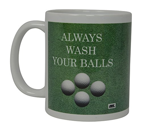 Best Funny Golf Coffee Mug Always Wash Your Balls Novelty Cup Joke Great Gag Gift Idea For Office Work Adult Humor Employee Boss Golfers