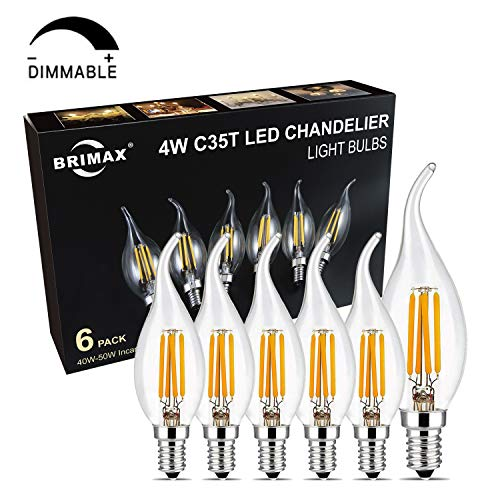 Dimmable E12 Led Chandelier Light Bulbs, BRIMAX 4W to Replace 25W/40W Candelabra Base Bulb, 2700K Soft Warm White, Vintage Type B Light Bulb 40 Watt, Flame Tip, for Indoor and Outdoor, 6 Pack