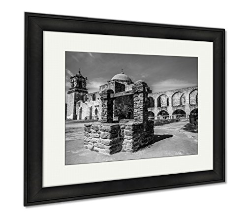 Ashley Framed Prints Spanish Mission San Jose Texas, Wall Art Home Decoration, Black/White, 26x30 (frame size), Black Frame, AG6515533 by Ashley Framed Prints