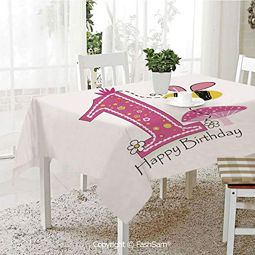 FashSam Party Decorations Tablecloth Cartoon Like Image with Bees Party Cake Candle Print Dining Room Kitchen Rectangular Table Cover(W60 xL104) ()