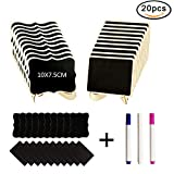 Mini Chalkboards, VIPITH 20 Pack Wood Rectangle Small Chalkboard with Easel Stand, Decorative Food Signs Place Cards for Weddings, Parties, Buffet, Table Number and Special Event Decoration