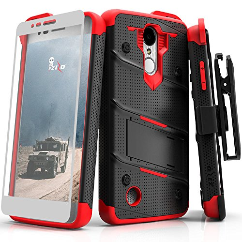 ZIZO Bolt Series LG Aristo 2 Case Military Grade Drop Tested with Tempered Glass Screen Protector Holster LG Fortune 2 Black RED
