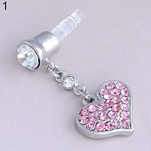 (Mosichi Universal 3.5mm Love Heart Shape Dangle Anti Dust Earphone Jack Plug Stopper Pink)