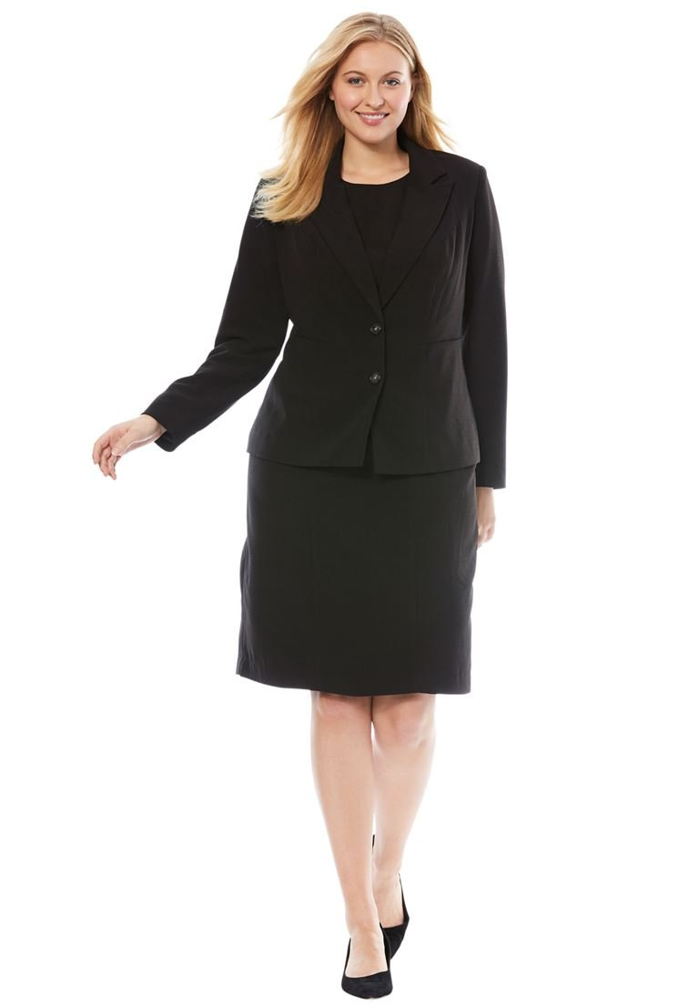 Jessica London Women's Plus Size Single Breasted Jacket Dress Black,28 W
