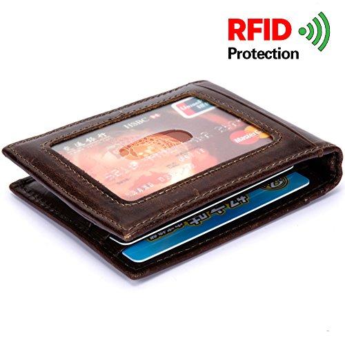 Card Outside Pocket (Bifold Leather Wallet for Men, Slim Front Pocket Wallet with Money Clip, RFID blocking Credit Card Holder, Brown)