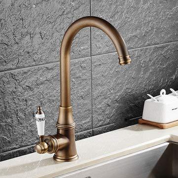 (KC-9098 Retro Antique Kitchen Sink Faucet Single Handle Rotation Spout Deck Cold and Hot Water Mixer Tap - Faucets Kitchen Sink Faucets - 1 x KCASA KC-SL Bathroom Basin Faucet)