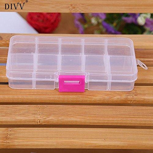 (Jewelry Organizer Makeup Organizer - 10 Grids Happy Gifts Adjustable Jewelry Beads Pills Nail Art Tips Storage Box Case 02 - Jewelry Box (D))
