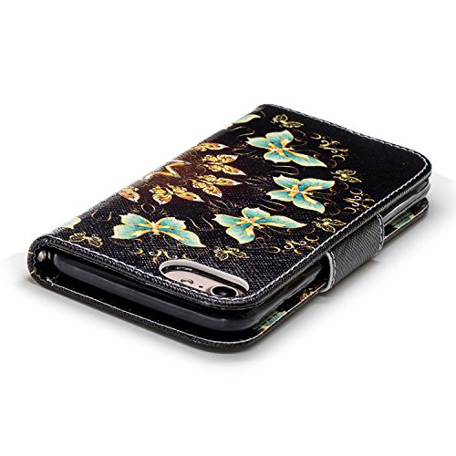 Flip cuir pour Coque 7 iPhone Housse imprim en Portefeuille en Cuir Protection iPhone Case HUT tui 8 Etui cuir pour 7 COZY circulaire de tui Coque Papillon semi 8 iPhone Suppor Stand Cover PU Magntique iPhone Housse avec wq1IEzxx5