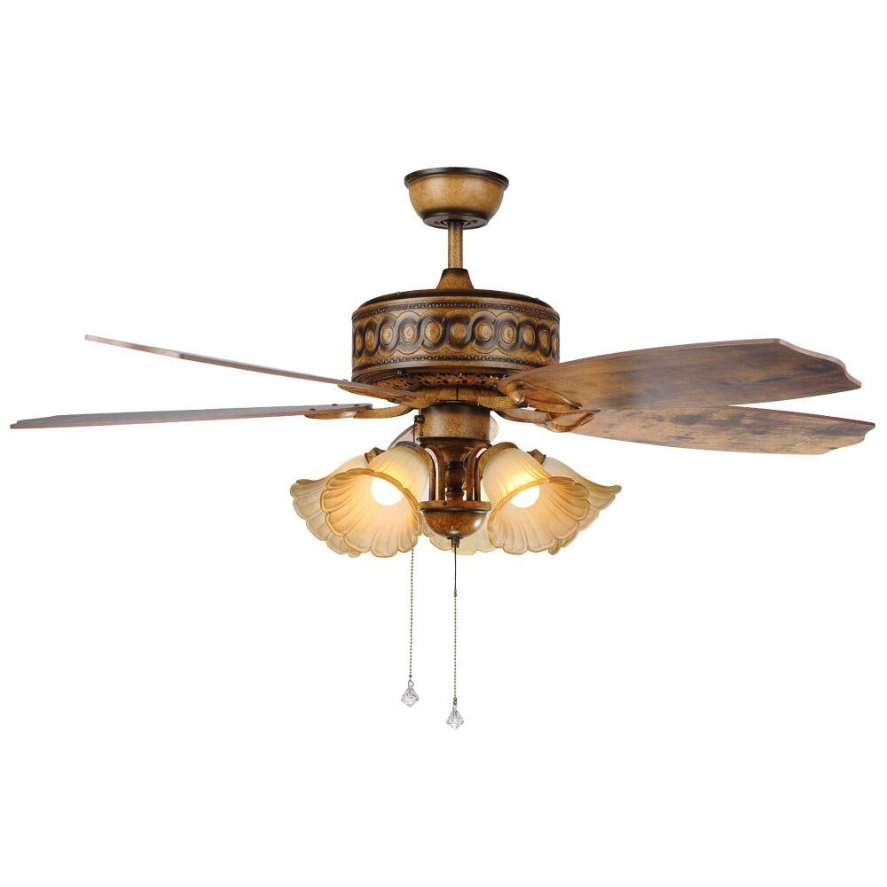 Luxurefan Create Retro Ceiling Fan Light Luxury Decoration for Antique Home Restaurant with Pull Chain and 5 Unique Wood Leaves and Elegant Glass Shade of Reversible Chandeliers (52Inch)