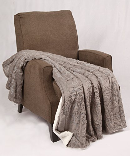 "BOON Embroidery Batik Sherpa Throw Blanket, 50"" x 60"", Humus"