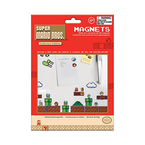 Bros Game Original Mario Super (Super Mario Bros. Fridge Magnets - Features 80 Magnetic Characters and Icons)
