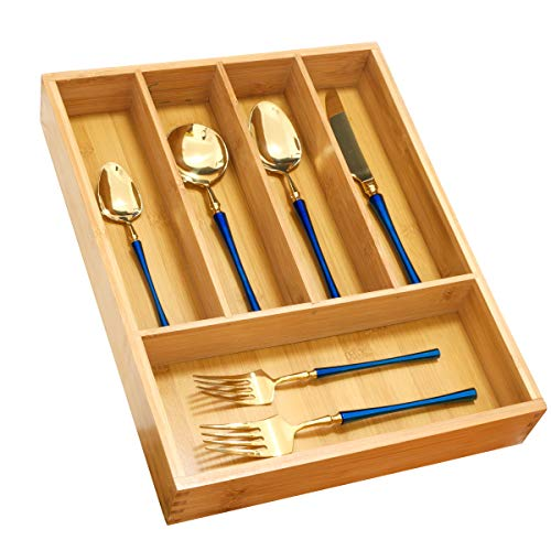 (Silverware Utensil Tray Wooden Cutlery Drawer Dividers 5 Compartments Organizer Storage Holder Bamboo Flatware Organizer Good for Knives Forks Spoons | Office Supplies|Cosmetics |Utility Accessories)