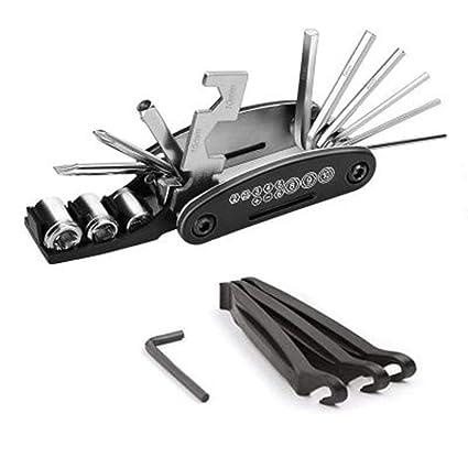 Gimitunus 16 en 1 Multi-Función Bicicleta Bicicleta Ciclismo Mecánico Herramienta de Reparación Kit con