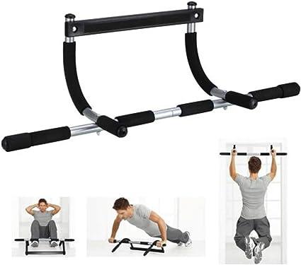 Barra de dominadas para montar en la pared, equipamiento de fitness para hacer ejercicio en casa, color negro, tamaño talla única