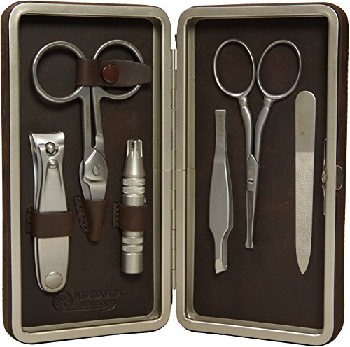 Dovo Premium Stainless Steel Grooming Set, Nail Clipper, Groomer, and Scissor, File, Tweezer, and Nose Scissor, Made in Germany by Dovo