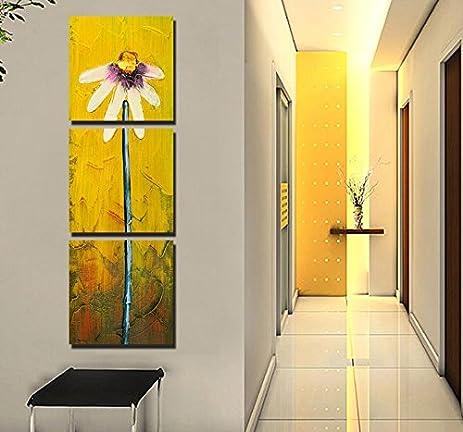 Amazon.com: yozhohoo Yellow Canvas Paintings Daisy Flower Abstract ...