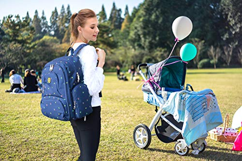 Qimiaobaby diaper bag backpack, multifunctional and large-capacity travel diaper storage bag (Blue florets)
