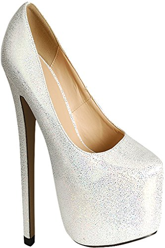 Diamond Glitter Accent Almond Toe Platform High Heels 7 white - Accent Platform Pumps