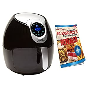 Power Air Fryer XL 3.4 QT Black – Turbo Cyclonic Airfryer With Rapid Air Technology For Less or No Oil. Include Recipes…