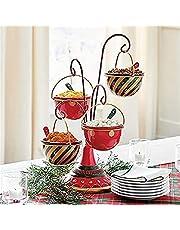 Be Merry Snack Bowl Stand | Opvouwbare Kom Kerst Snack Serveerstandaard | Giant Ornament Punch Bowl voor het serveren van snacks, fruitborden en kerstversiering