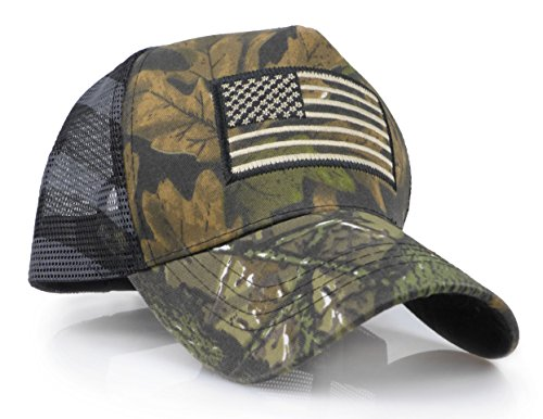 (USA American Flag Embroidered Stars and Stripes Tactical Mesh Trucker Baseball Snapback Cap Hat (Realtree))