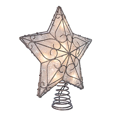 Kurt Adler UL 10-Light Metal Trimmed Capiz Star Treetop (Topper Lit Star Tree)