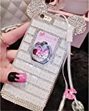 Bling Samsung Galaxy S8 Plus Diamond Case With Chain,Chanyaozy[DIY][Luxury][Stand]Glitter Diamond Mouse Ears Soft Rubber Case For Samsung S8+ 6.2 Inch (White With Ring Holder)