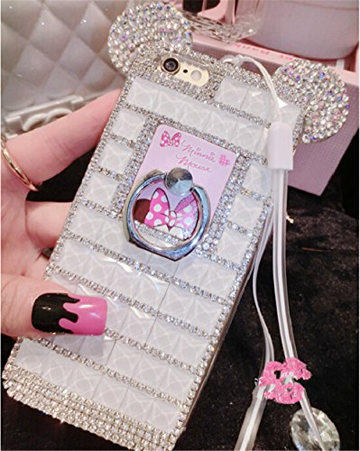 Bling Samsung Galaxy S8 Plus Diamond Case With Chain,Chanyaozy[DIY][Luxury][Stand]Glitter Diamond Mouse Ears Soft Rubber Case For Samsung S8+ 6.2 Inch (White With Ring Holder) by Chanyaozy