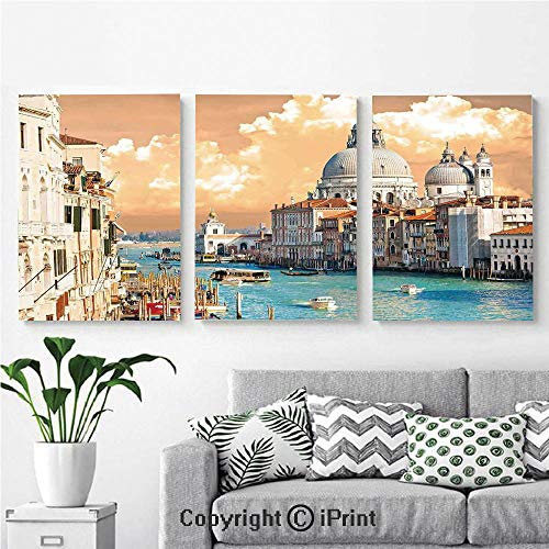 Modern Salon Theme Mural Grand Canal in Venice Italy Historical European Cityscape Town Tower Boho Print Painting Canvas Wall Art for Home Decor 24x36inches 3pcs/Set, Multi