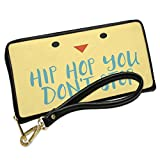 Wallet Clutch Hip Hop You Don't Stop Easter Chick Face with Removable Wristlet Strap Neonblond