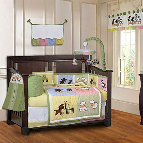 10 Piece Green Yellow Pink Farm Animals Baby Crib Bedding Set with Musical Mobile Sheep Cow Horse Animal Crib Bedding for Girls Boys Nursery Bed Set Jungle Inspired Blanket Quilt Skirt & More, Cotton