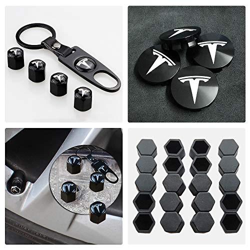 Tesla Model 3 Aero Wheel Cap Kit,Set of 28,Black Aluminum Alloy Wheel Center Hub Caps Covers & Lug Nut Bolt Cover Caps & Tire Valve Cap Cover Logo Styling Combined Package