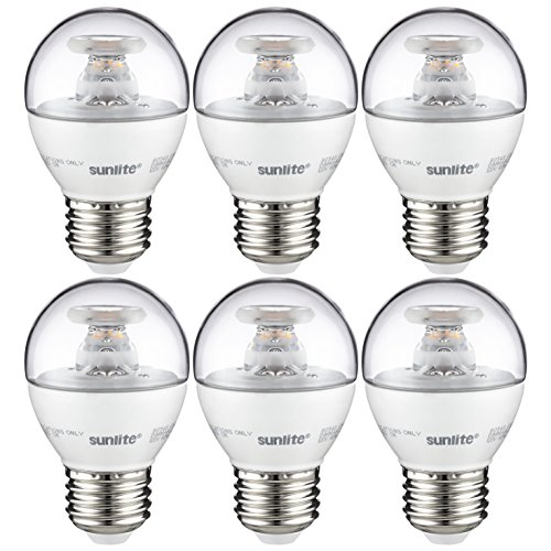 Sunlite G16/LED/7W/D/E26/CL/ES/27K/CD/6PK G16 Globe Bathroom Vanity Clear Dimmable Light Bulb, 60 Equivalent - 6 Pack,