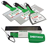 USG Sheetrock Matrix Drywall Taping Knife Set with Matrix Mud Pan, Magnetic Grip and Mini Mud Mixer