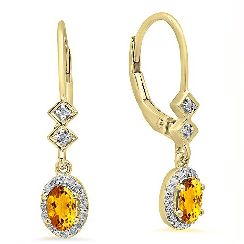 Dazzlingrock Collection 10K 5X3 MM Each Oval Citrine & Round White Diamond Ladies Dangling Drop Earrings, Yellow Gold