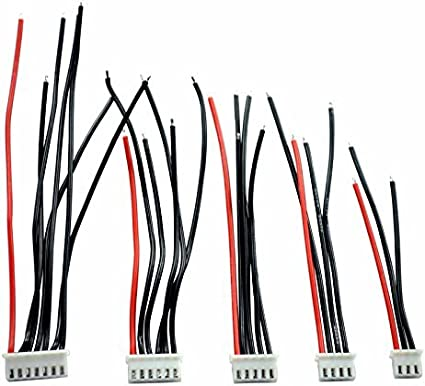 5Pcs 2S-6S Battery Balance Charger Cables 22AWG Silicon Wire JST XH Connector
