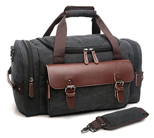 CrossLandy Canvas Gym Bag for Men Women Leather Overnight Bag Travel Carry on Duffel Sports Weekend Tote Bags ()