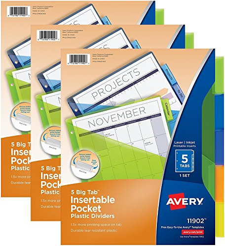 Avery Big Tab Insertable Plastic Dividers with Pockets, 5 Multicolor Tabs, Pack of 3  (11902) ()