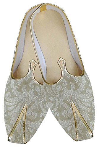 INMONARCH Herren Beige Brokat Hochzeit Schuhe MJ0125