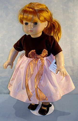 18 Inch Doll Clothes - Brown Velvet Peach Taffeta Holiday Dress handmade by Jane Ellen for 18 inch dolls