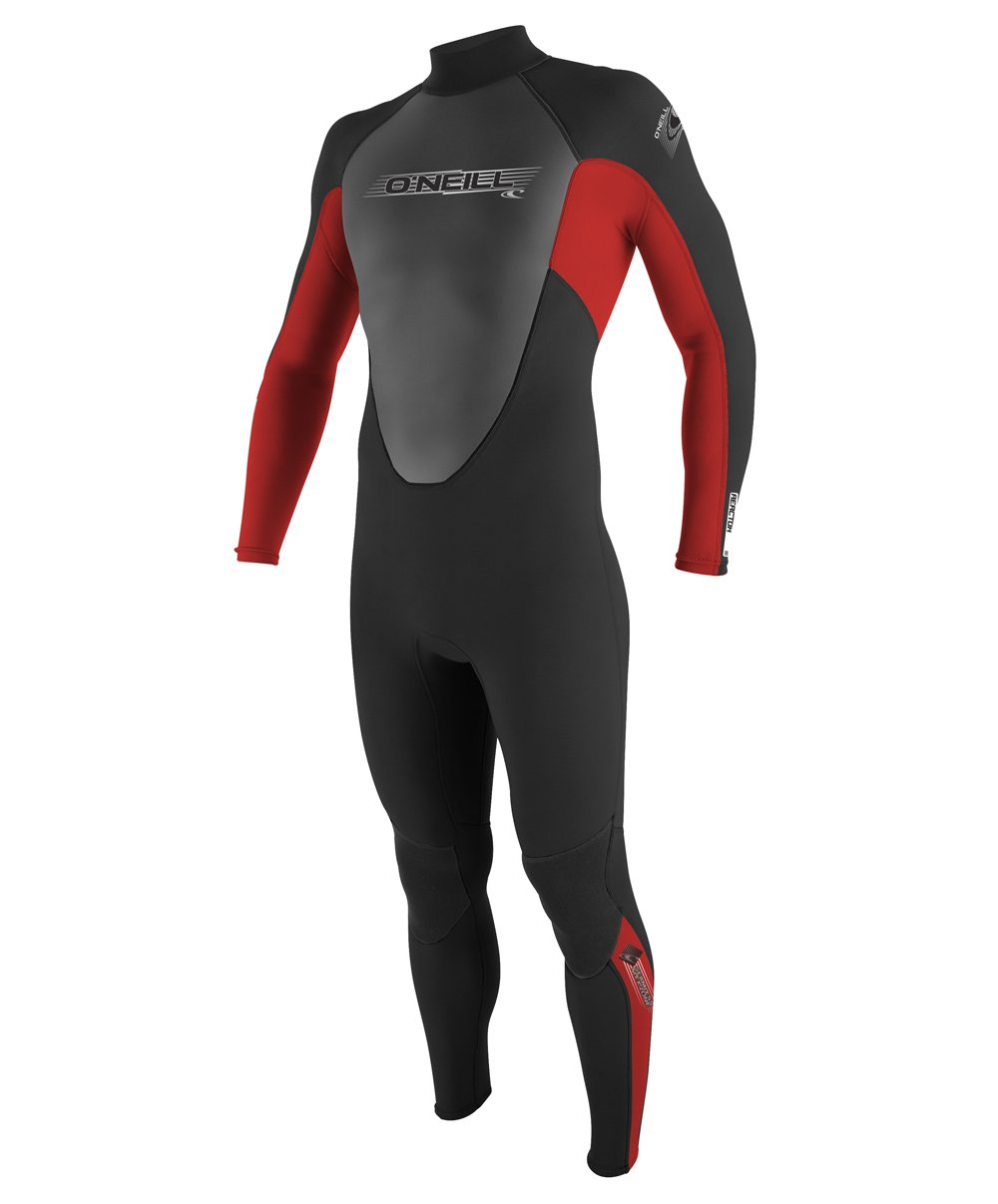 O'Neill Youth Reactor 3/2mm Back Zip Full Wetsuit, Black/Red/Graphite, 12