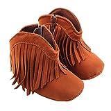 M-Egal Baby Girls Boots Tassel Soft Bottom Non-slip Winter Warm Infant Toddler Shoes 13cm brown