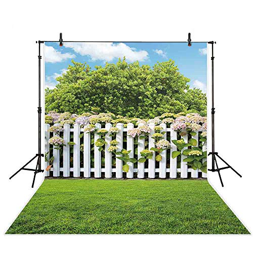 Allenjoy 5x7ft Summer Backdrop Wood Fence Garden Photography Background for Children Baby Shower Photo Blue Sky Lawn Backdrops Studio Prop (Fence Backdrop)