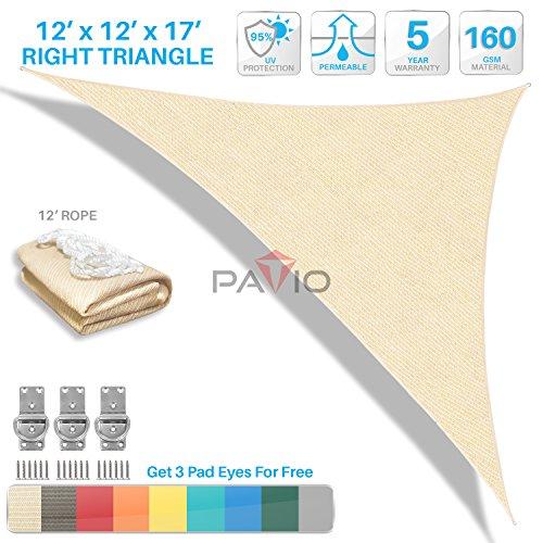 Patio Paradise 12'x12'x17' Beige Sun Shade Sail Right Triangle Canopy - Permeable UV Block Fabric Durable Patio Outdoor - Customized Available