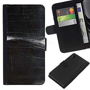 KingStore / Leather Etui en cuir / Sony Xperia Z2 D6502 / Rayado Negro blanco del arte;