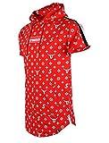 SCREENSHOTBRAND-S11812 Mens Hip Hop Longline Premium Tee - Pullover Hooded Fashion T-shirt Pattern Print Shoulder Tape -Red-Medium